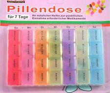 Pillendose für 7 Tage Pillenbox Medikamentenbox Tablettenbox Dose Tabletten bunt