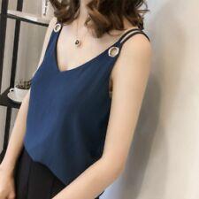 Mujer Arrugado chiffon Camiseta de tirantes chaleco cuello en 'V' Fino interior