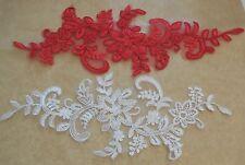 Rojo Blanco Marfil Floral Tul Encaje Aplique Boda Encaje Floral Motivo
