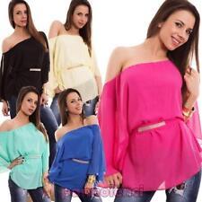 Pull femme voilé t-shirt tunique STRASS manches chauve-souris neuf AS-6653