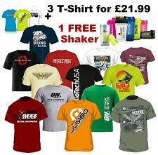Scitec Nutrition Optimum Biotech USA  Mens T-Shirt Gym Mixed Bundle 3 T SHIRTS