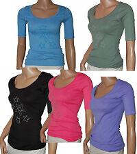 C115 - Ladies Star Studded Scoopneck Tee Top Elbow Sleeves - UK 6/8 & 8/10