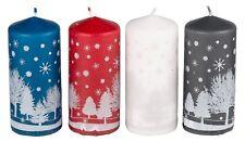 2x14 cm Christmas Candles Christmas Decoration Pillar Candles Glitter Snow Scene