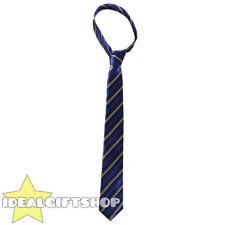 Azul Y Beige satén grueso con rayas Cuello Corbata Colegial Fancy Dress Accesorio