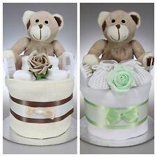 BABY BOY GIRL UNISEX ONE 1 TIER NAPPY CAKE  CUTE TEDDY BEAR  BABY SHOWER GIFT