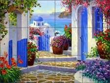 Mediterranean Tile Backsplash Senkarik Greece Seascape Art Ceramic Mural MSA203