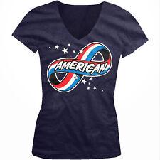 American Forever Infinity Symbol Stars Red White Blue USA Juniors V-Neck T-Shirt
