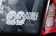 Double Doodle on Board - Car Window Sticker - Golden Goldendoodle Dog Decal -V01