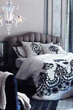 Anthropologie Samirah Embroidered Duvet Cover King Ivory Navy Blue Cotton NEW