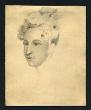 Dessin original du 19eme PORTRAIT DE VISAGE DE FEMME