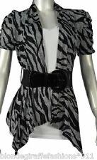 Gray/Black Zebra Stripe Short Sleeve Drape Bolero/Shrug/Cardigan w/ Belt S