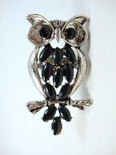 """Fashion Large Owl shape silver tone black stones crystal eyes Ring One size 2.5"""""""