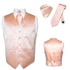 Men's Paisley Design Dress Vest & NeckTie PEACH CHAMPAGNE ROSE Neck Tie Set