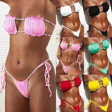 Brazilian Womens Bandeau Swimwear Bikini Set G-String Thong Swimsuit Beachwear