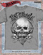 Hot Wheels Bandana Skull Face Racing Cars Race Car Speed Punk Adult Mens T Shirt