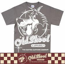 OldSkool White Wolf Design Retro Classic Car T Shirt Hot Rod Biker S-5XL