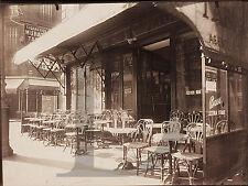 PLAQUE ALU REPRODUISANT UNE PHOTO EUGENE ATGET CAFE AVENUE GRANDE ARMEE