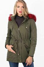 Faux Fur Trim Hooded Parka Coat in Khaki Green
