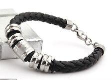 Men's Jewelry Multiple Styles Leather Braided Titanium Stainless Steel Bracelet