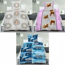 2 tlg. Bettwäsche Moderne Hochwertige Microfaser Bettbezug 135x200 Tiere