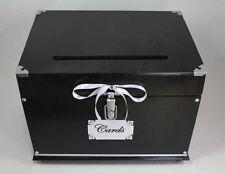 Wedding Card Box Trunk, Dark Brown Black Card Box, White Wedding Decor,