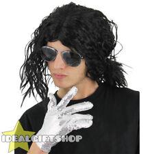 Wet look jacko perruque rock pop star thriller adultes déguisement 1980S mj noir ondulés