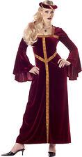 Renaissance Lady 2 Piece Long Velour Gown With Brocade Trim & Circle Headpiece