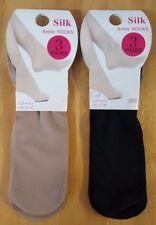 3 Pairs Ladies Girls Silk Ankle Socks Thin Ankle High Pop Soft UK 4-6.5 (68)