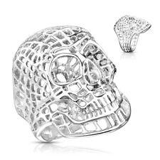 Mesh Skull Ring Harley Biker Motorcycle Stainless Steel Grid Web Design