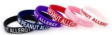 Kids Peanut Allergy Silicone Bracelets- 2 Color Sets-Lot of 3