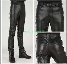 Men Leather Pants Slim Fit Korea Motorcycle Long Trousers Skinny Bootcut Winter