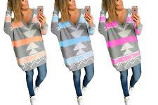 NEU Damen Pullover Langarmshirt Geometrisch Irregular Strick Pulli S/M L/XL 650