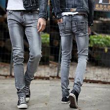 SP836 New Men's Fashion Slim Fit Jeans Skinny Pencil Trousers Washed Denim Pants