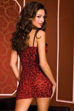 Red Black Leopard Print Stretch Mini Dress Chemise Sexy Designer Lingerie P6444