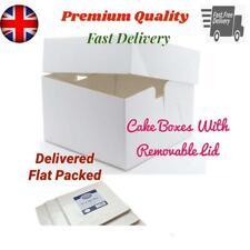 "WHITE CAKE BOX WITH REMOVABLE LID 8"" 10"" 12"" 14"" 16"" Stapleless Birthday Wedding"