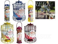 WILD BIRD FAT BALL SUED SEED PEA NUT FEEDER HANGING CAGE STATION OUTDOOR GARDEN