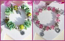 Neu Bettelarmband  Muschelsplitter Perlmutt grün rosa silber Herz Stern H54