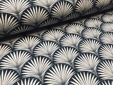 Floral Fan Geometric Damask Art Deco Fabric Curtain Upholstery -140cm wide Black