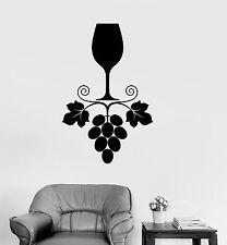 Vinyl Decal Wine Grapes Glass Kitchen Restaurant Drink Bar Wall Sticker (ig3296)