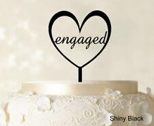 """Monogram Wedding """"Heart Shape Engaged"""" Cake Topper Custom Mirror Cake Topper"""