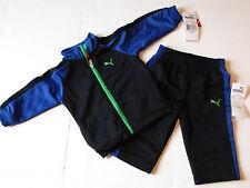 NWT Puma Infant Boys Black & Blue 2 Piece Baby Jogging Track Sweat Suit