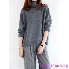 Fashion Women Warm 100% Cashmere High-Necked Sweater Long Sleeve Loose Coat UK X