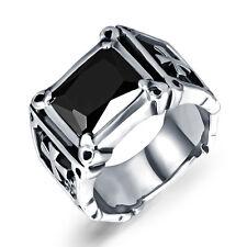 black onyx  Biker Stainless Steel Vintage Cross Ring Men High Quality Jewlery