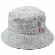 Señoras Gris Bucket Hat Hawkins PAC Flor Sol Para Mujer Cloche