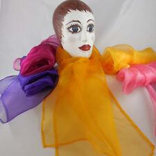 Organza Schal reine Seide handmade Farbe uwf uni einfarbig dekorativer Saum