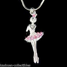 Pink w Swarovski Crystal BALLERINA Ballet Crown Necklace 4 The Nutcracker Lover