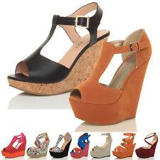 Débardeur femme haut talon compensé t-bar peep toe chaussures été plateforme sandales taille