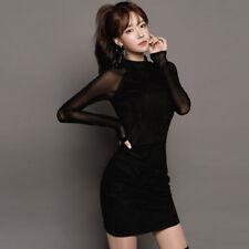 Elegante vestito abito corto tubino nero  comodo maniche slim aderente 3263