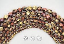 Czech Glass Fire Polished Round Beads, Jet California Golden Rush (Aurum Bronze)