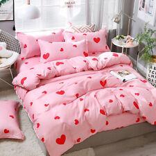 Hart Print Pink Bedding Set Duvet Quilt Cover+Sheet+Pillow Case Four-Piece HOT